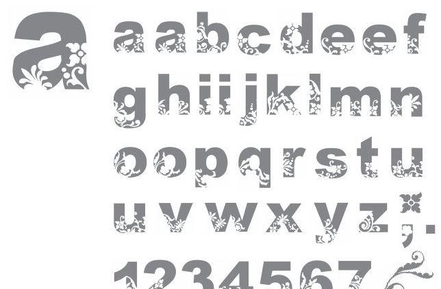 Bohemian alphabet stamp