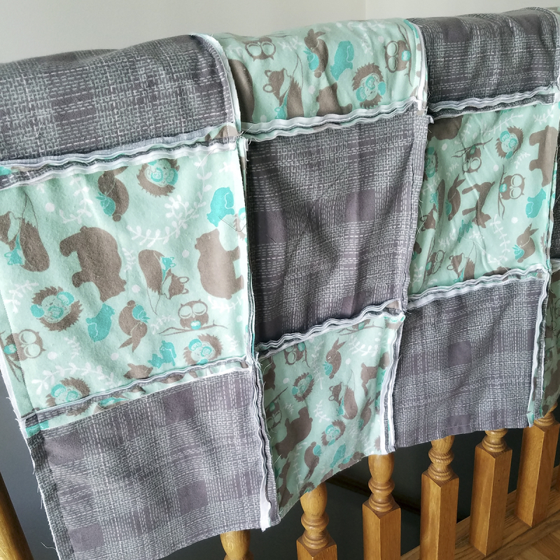 Rag quilt before snipping seams