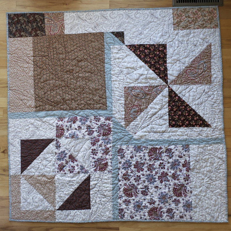 Fall leaf table quilt back