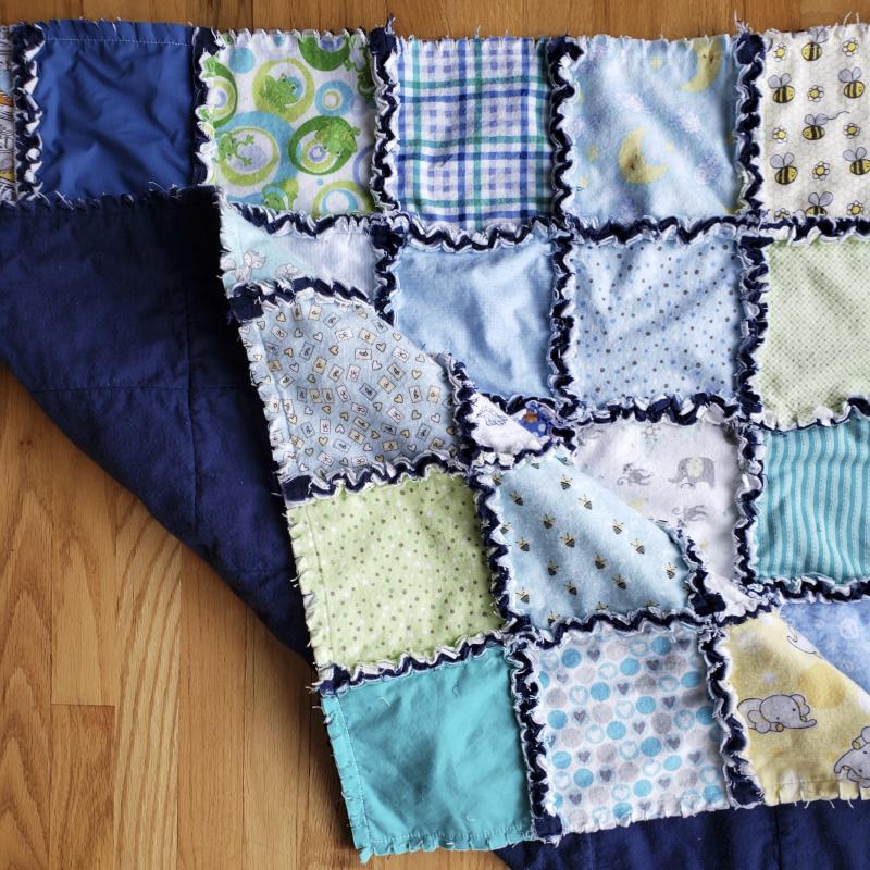 Baby rag quilt folded