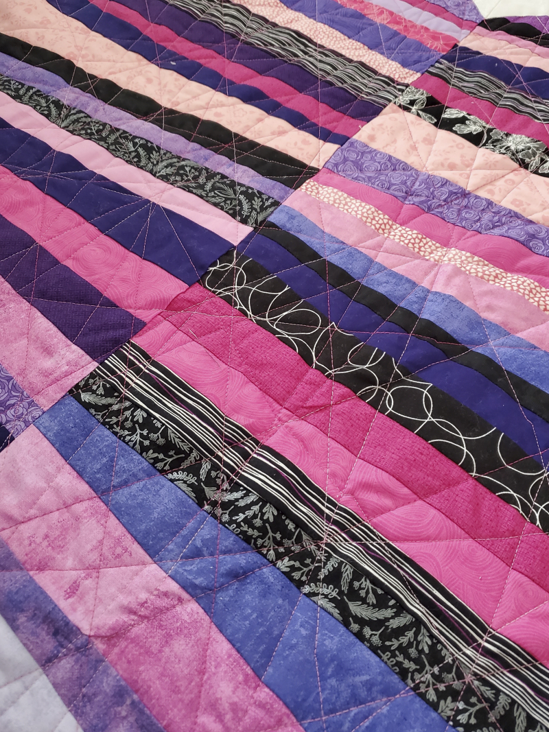 Hearts like crazy paving more quilting