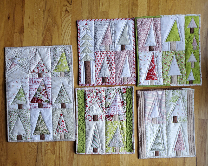 Patchwork forest hot pads