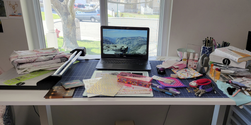 Messy crafty desk 4 8 2021