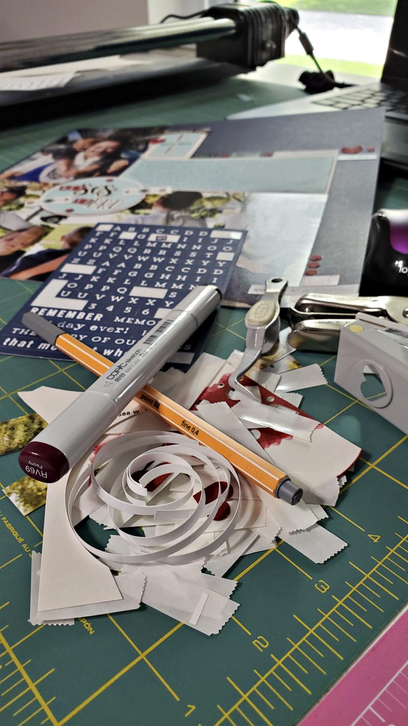 Messy scrapbook desk
