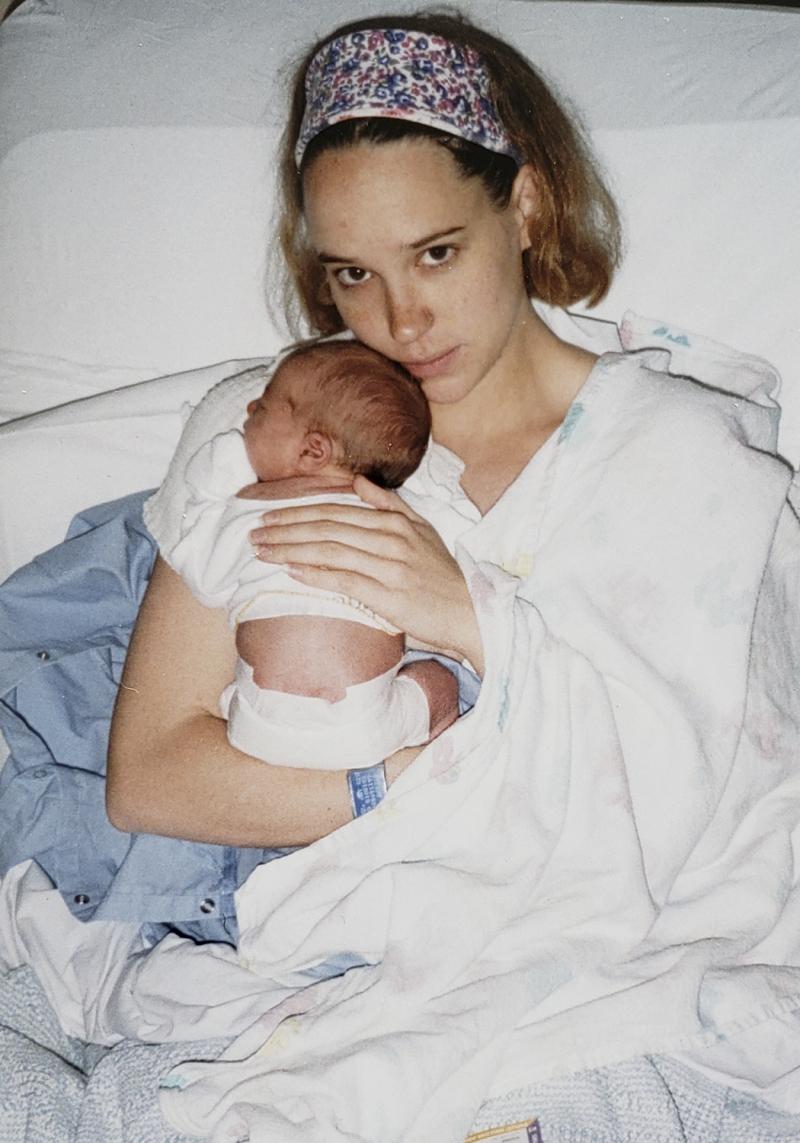 1995 haley newborn with amy 4x6